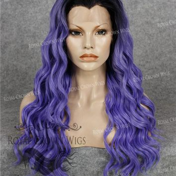 24 inch Synthetic Lace Front with Wave Texture in Rooted Purple