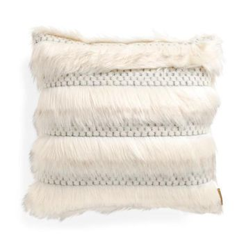 Nicole Miller Faux Fur Feather Fill Throw Pillow