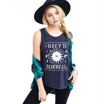 Fashion Casual Letter Pattern Print Loose Sleeveless T-shirt Women Tops