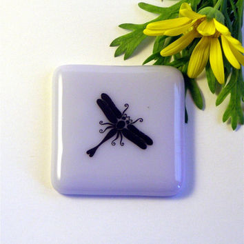 Dragonfly Fused Glass Magnet on Lilac by GreenhouseGlassworks