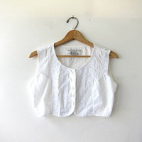 Vintage white tank top. cropped cotton tank top. bralette top. minimalist modern shirt.