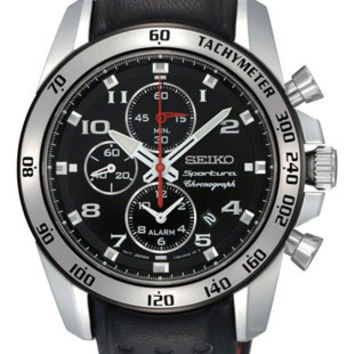 Seiko Sportura Alarm Chronograph - Black Dial - Leather Strap - Red Accents