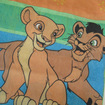 RARE Vintage Disney Lion King Simba Nala Flat Bed Sheet TWIN Size Kids Bedding Craft Fabric Made in Canada Clean Used HTF