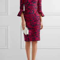 Oscar de la Renta - Printed stretch-cotton poplin dress