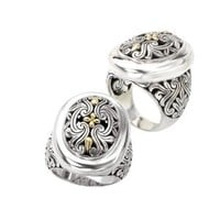 925 Silver Oval Filigree Swirl Ring with 18k Gold Accents- Size 7