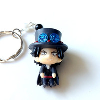 Halloween Dracula Portgas D. Ace keychain, One piece Anime charm, Ace dust plug charm, Anime keychain, Pearl beads, Nintendo 3DS, PS Vita