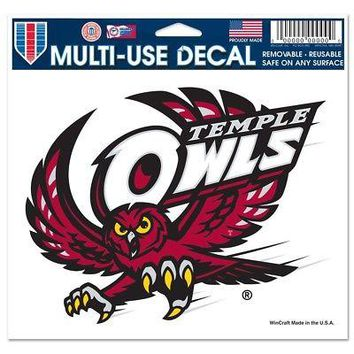 """Licensed Temple Owls NCAA 4.5"""" x 6"""" Car Window Cling Decal Temple Wincraft 661739 KO_19_1"""