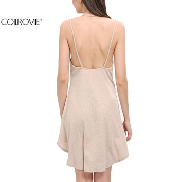 COLROVE Woman Summer Style Apricot Dip Hem Backless Slip Sexy Dresses New Arrivals Women Casual Ladies Sleeveless Shift Dress