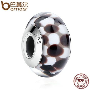 925 Sterling Silver Black & White Pattern European Murano Glass Beads Charms for DIY Bracelets & Bangles Jewelry SCZ011