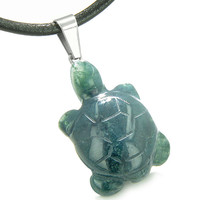 Good Luck Charm Turtle Amulet Indian Green Agate Healing Powers Leather Pendant Necklace