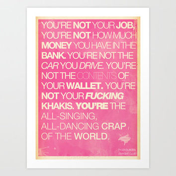Consumerism - Fight Club Art Print by The Quotes Project