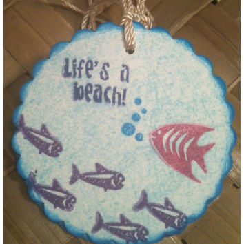 Hawaiian Fish Gift Tag Lifes A Beach Blue Ocean Tropical Vacation Angelfish Purple Pink Scalloped Circle Handmade Gift Tag Set of 4