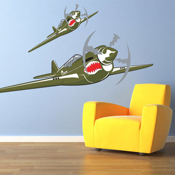 "Vintage Flying Tigers P40 Warhawk World War 2 Airplane Wall Decal Vinyl Aviation Sticker 20""x11"" Home Decor"