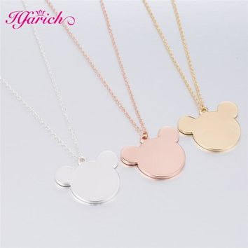 Hfarich Popular Mickey Girls Christmas Gift Necklace Wedding Child Pendants Party Lovely Long Chain Cute Cartoon Style Jewelry