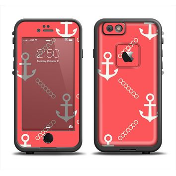 The Coral & White Vintage Solid Color Anchor Linked Skin Set for the Apple iPhone 6 LifeProof Fre Case