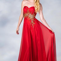 PRIMA C1385 Orange Chiffon Prom Dress