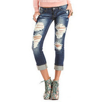 Destroyed Dark Wash Boyfriend Jean: Charlotte Russe