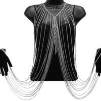 Silvertone Multilayer Tassel Body and Hands Chain Necklace