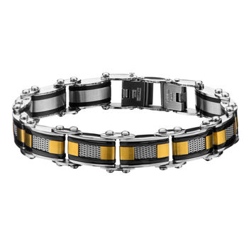Double Sided Black IP with Gold IP & Steel Mesh Reversible Bracelet
