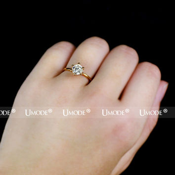 UMODE Rose Gold Color Classic 6 Prong Sparkling Solitaire Aneis Feminino 1ct CZ Wedding Rings JR0012A