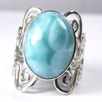 Larimar Ring - Unique Blue Larimar Jewelry - Artisan Wave Sterling Silver Ring - Vintage Inspired Filigree - Turquoise Aqua Winter Blue