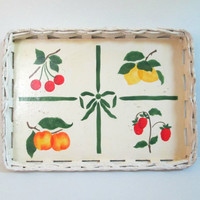 Wicker Wood Serving Tray Vintage 1970s Peach Tree Designs Home Entertaining Decor