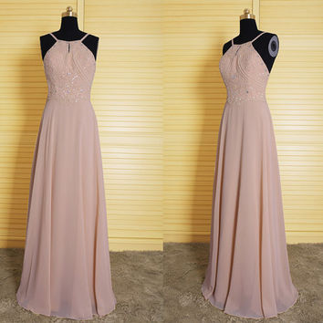 Elegant long chiffon bridesmaid dress,vintage spaghetti prom dress,formal dress with beads, junior bridesmaid dress, homecoming dress DP161