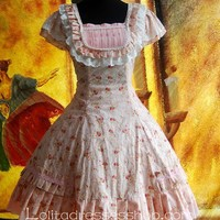 Pink Cotton Sweet Floral Camouflage Lolita Dress
