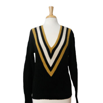 Vintage Sweater Ribbed Knit Striped V Neck Design Black Gold and White Striped Deep V Neckline Pullover Long Sleeves - Chevron Stripe