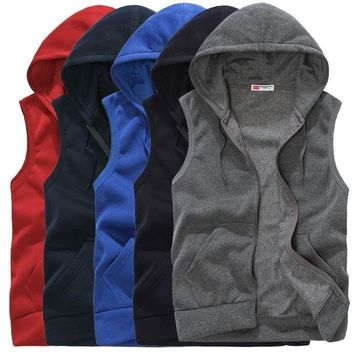 Men Sport Hoodie Sleeveless Hooded Sweatshirt Coat Zip Jacket Vest Waistcoat Top