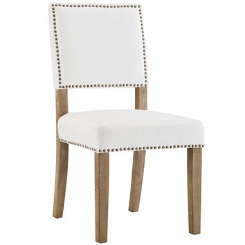 Oblige Wood Dining Chair, Ivory -Modway
