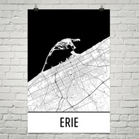 Erie PA Street Map Poster