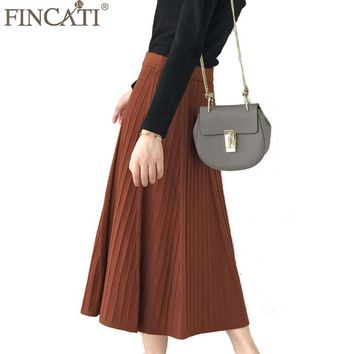 Skirts Women 2017 Autumn Winter New Fashion Cashmere Blending Striped Knitted Office Lady Long Pleated Soft Skirt Saia Femme