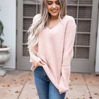 Dusty Pink Ribbed Sweater