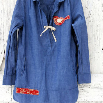 Women's Chambray Tunic- upcycled poets blouse- denim indie fashion- upcycled art tunic- ecofashion
