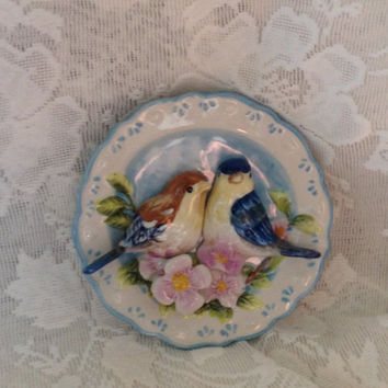 GANZ 3D Bird Plate Chickadees Songbirds Pink Flowers Vintage Kitchen Decor Scalloped Rim Embossed