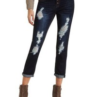 "Refuge ""Boyfriend"" Cropped Dark Wash Jeans"
