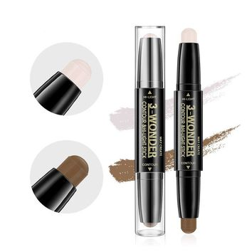 Scala Multifunctional Concealer Contour Highlight Stick 3D Face Double-ended 2 Colors Perfect Concealing Blemish Makeup Face Bright Pen (101(white+ coffee))