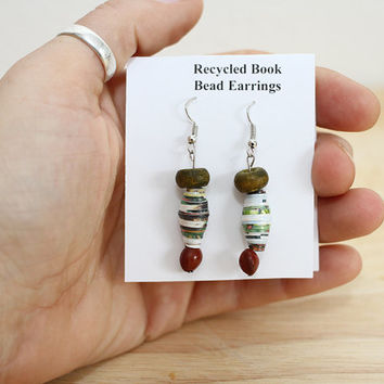 Earthy Boho Earrings Made With Recycled Book Pages, Rustic Earrings, Natural Earrings, Book Lover Earrings