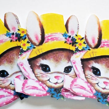 Retro Bunny Tags - Set of 3 - Easter Hat Bunny - Yellow And Pink - Easter Tags - Easter Bonnet Tag - 1950's Easter Tag - Easter Basket Tag