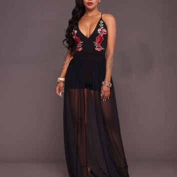 Black Embroidered Strap Party Dress