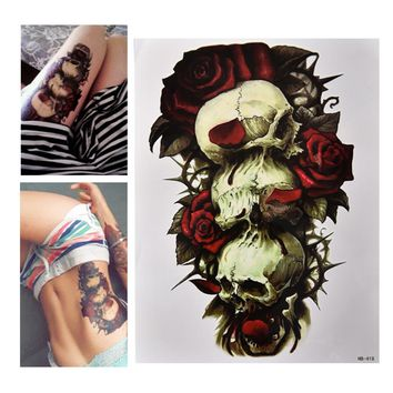 Waterproof Skull and Rose Temporary Tattoo Can be Removed Large Arm Body Art Tattoos Sticker