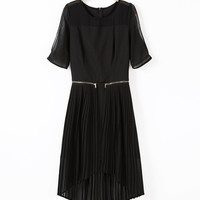 Short Sleeve Pleated Asymmetrical Midi Dress