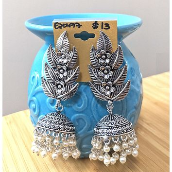 Long leafy stud with pearl bead hanging oxidized small jhumka earring