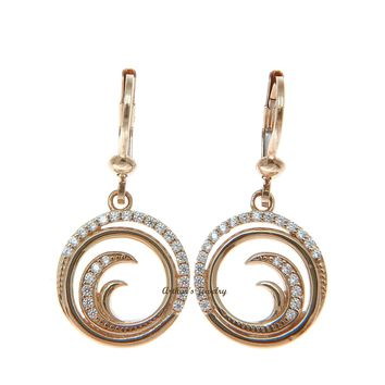 SOLID 14K ROSE GOLD HAWAIIAN OCEAN WAVE CIRCLE BLING CZ LEVERBACK EARRINGS 960745f58d