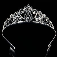 Lavender Crystal Crown Tiara Silver