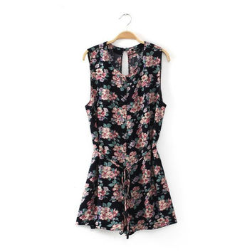 Summer Cotton Linen Print Sleeveless Round-neck Waistband One-piece Shorts Jumpsuit [4918074436]