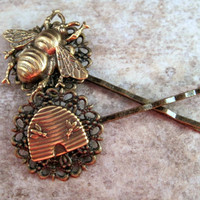 Bee And Hive Brass Bobby Pins By Metals And Time