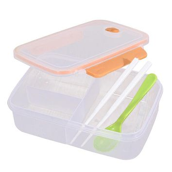 Transparent Three Compartments Lunch Bento Food Box Snack Container Storage lunchbox Orange