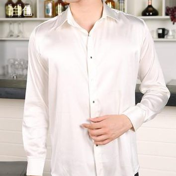 A large number of men's fat heavy silk shirt sleeve to add fertilizer to increase loose silk shirt color 2